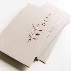 STUDIO ANA DIAS / branding and business cards in rose gold on nude