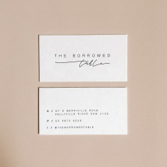 THE BORROWED TABLE / branding in black letterpress on 600gsm ivory