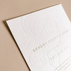 ASHLEY & REYMAN / blind press hand illustrated magnolia with gold foil text