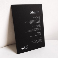 SHAUN & STU / white ink on black menus