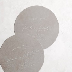 NICOLA & STEPHEN / white ink on grey round save the dates
