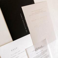 BIANCA & JOSEPH / gold foil on nude invite, black on white rsvp, black on vellum details, black envelope