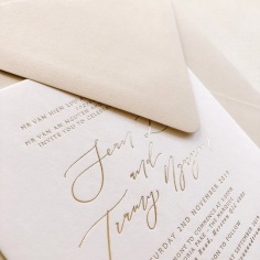 TRAMY & SEAN / gold foil on white with nude envelopes