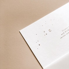 RACHEL & ELLIOT / rose gold hand illustrated stars on white
