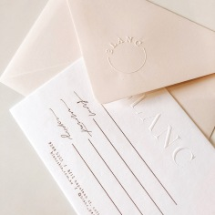 BLANC / gift vouchers in rose gold with pale pink embossed envelopes