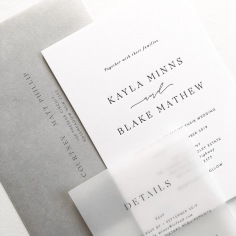 KAYLA & BLAKE / black letterpress on white, black on vellum and a grey envelope