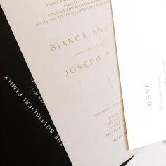 BIANCA & JOSEPH / gold foil on nude invite, black on white rsvp, black envelope