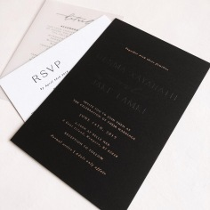 DESMA & JAKE / blind emboss and rose gold foil on black invite, black letterpress on white rsvp, black on vellum details