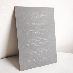 SOPHIE & RICH / white ink on grey menus