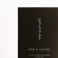ROB & LACHIE / white ink on black