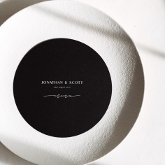JONATHAN & SCOTT / white ink on black menus