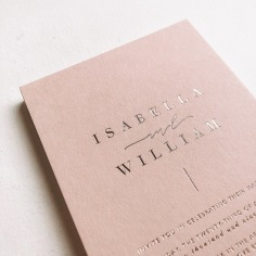 ISABELLA & WILLIAM / gold foil on 450gsm blush