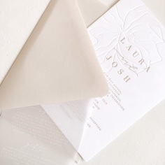 LAURA & JOSH / blind press hand illustrated magnolia and nude letterpress