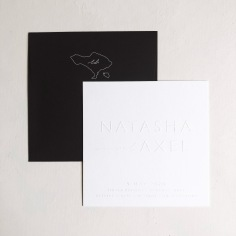 NATASHA & AXEL / blind emboss on white and mini envelope illustration