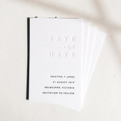 CRISTINA & JAMES / blind and black letterpress on 550gsm white
