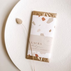LAURA & JOSHUA / custom chocolate wraps in nude tones
