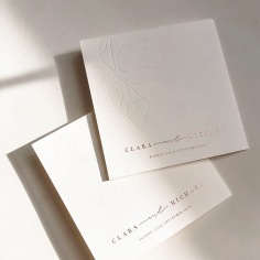 CLARA & MICHAEL / rose gold foil and blind emboss on white folded card
