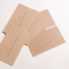 LISA LAMBACHER / gold foil and blush business cards