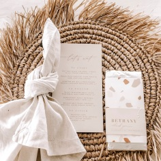 LAURA & JOSHUA / custom chocolate wraps and menus in nude tones