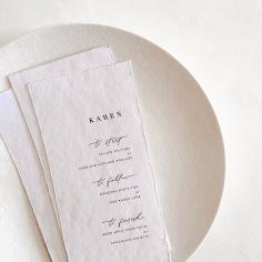 KAREN / digital print menus on handmade paper