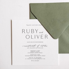 RUBY & OLIVER / black letterpress on white invitation and blind emboss on envelope flap