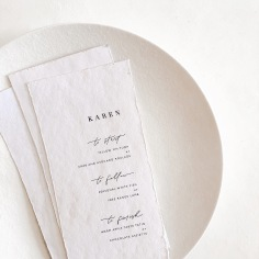 KAREN / digital print menus on handmade paper