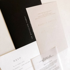 LAURA & BRENDAN / gold foil and black letterpress on cotton and nude