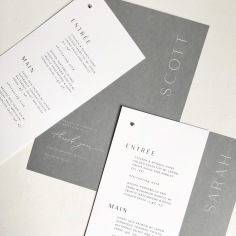 SARAH & SCOTT / grey digital print on white menu overlay, white digital on grey thank you note and guest name