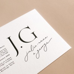 JULIE-ANNE & GEORGE / black letterpress on 600gsm ivory