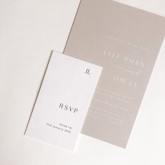 LYLY & JIM / black letterpress RSVPs and white foil and stone invitations