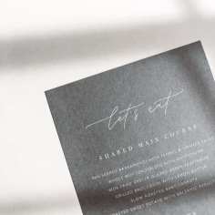 SAMANTHA & ANDERS / white ink on grey menus