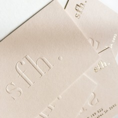 SFH / business cards in blind emboss, gold foil and pale pink