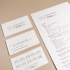 THE BORROWED TABLE / business cards, loyalty cards and menus
