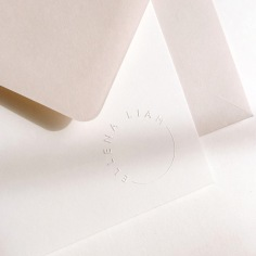 ELLENA & LIAM / blind emboss thank you cards with nude envelopes