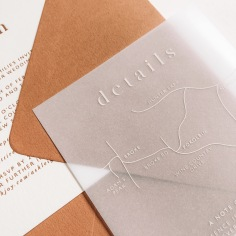 ASHLEIGH & DUNCAN / terracotta and blind letterpress invitation, white ink on vellum details with terracotta envelopes