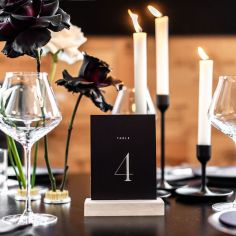 CAITLIN & JOHN / table numbers in white and black. photo / @melsilva.photographer florals / @urbanandwild_co