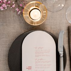 ANNIE & CHRISTOPHER / arch menus in red and pale pink. photo / @melsilva.photographer florals / @urbanandwild_co