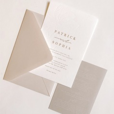 SOPHIA & PATRICK / blind press and gold foil on cotton, white on stone details with nude envelopes