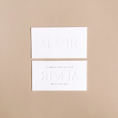 ALMIR / branding in blind emboss and grey digital print
