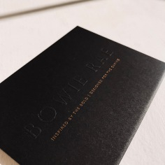 BOWIE RAE / blind emboss and gold foil on 600gsm black