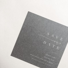 SAM & JARRYD / white ink on grey save the date