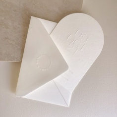 EMILY & KIERAN / arch blind emboss save the dates and custom emboss stamped envelopes