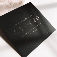 EMILY & MARCO / gold foil save the dates on black