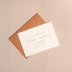 BELINDA & MATTHEW / digital print on pale pink with terracotta envelopes