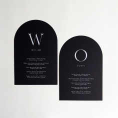 CAITLIN & JOHN / arch menus in white and black