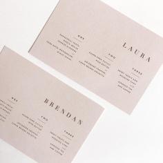 LAURA & BRENDAN / menus in digital print on nude