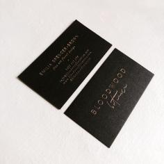 BLOODWOOD BOTANICA / branding in rose gold foil on black
