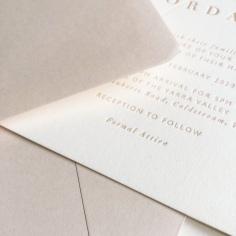 PHILLIPA & JORDAN / nude letterpress on warm white cotton