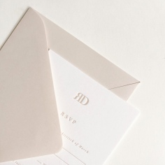 REBECCA & DANIEL / rsvps in nude letterpress on white with nude envelopes