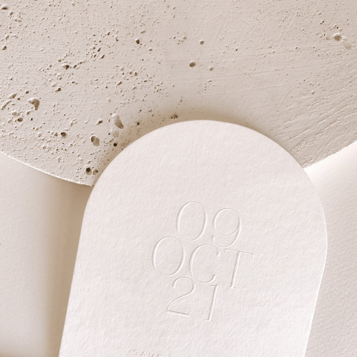 EMILY & KIERAN / arch blind emboss save the dates